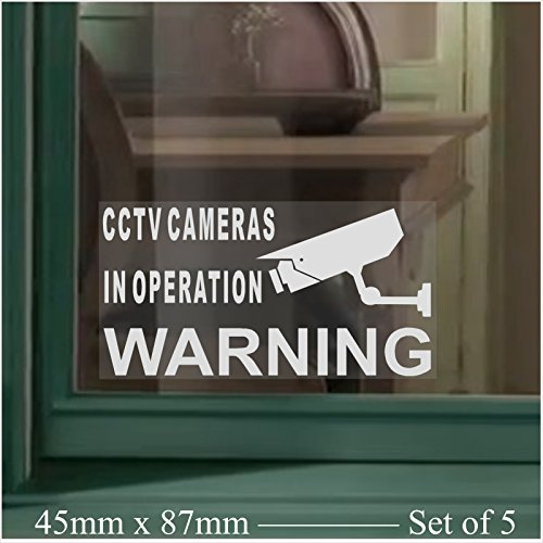 5-x-SMALL-45x87mm-Monitored-by-CCTV-Video-Recording-Camera-Security-Warning-Window-Stickers-Mini-Self-Adhesive-Vinyl-Signs