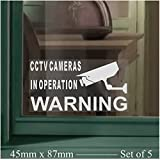 5 x SMALL-45x87mm-Monitored by CCTV Video Recording Camera Security Warning Window Stickers-Mini Self Adhesive Vinyl Signs (White Print onto Clear -