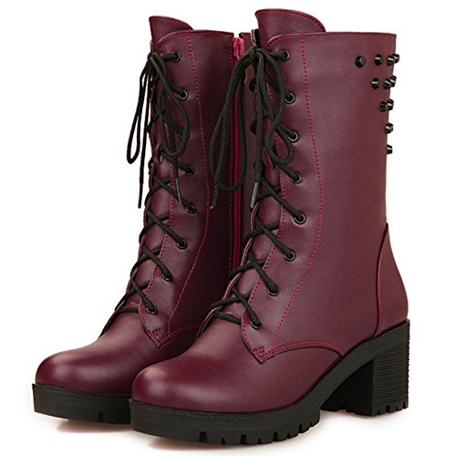 TAOFFEN Damen Trend einfachen Schuhen mit hohen Absätzen Blockabsatz Knöchel Martin Stiefel mit Nieten Schnürung Rotwein