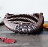 MINGZE Pettine in legno, pettine in legno naturale antiscivolo in legno di sandalo, pettine in legno di sandalo intagliato a doppia faccia (12-1)