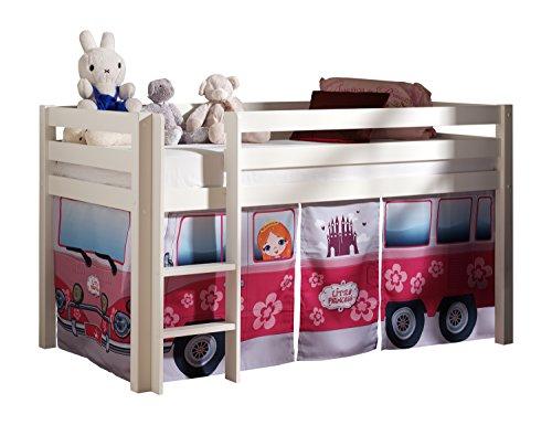 "VIPACK PICOHSZG1471 Spielbett Pino mit Textilset ""Flower-Bus"", Maße 210 x 114 x 106 cm, Liegefläche 90 x 200 cm, Kiefer massiv weiß lackiert"