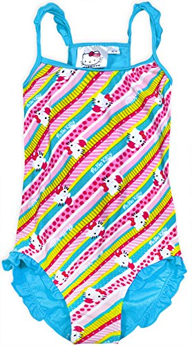 Hello Kitty Girls Blue Swimming Costume Swimsuit Swimwear Official Age 4-10 Years