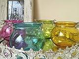Set mit 4 runden Teelicht-Halter zum Aufhängen, Glas, Windlicht, Kerze im Glas Garten Deko
