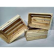 lote de 3 cajas de madera natural tipo fruta vintage - Cajas De Madera De Fruta