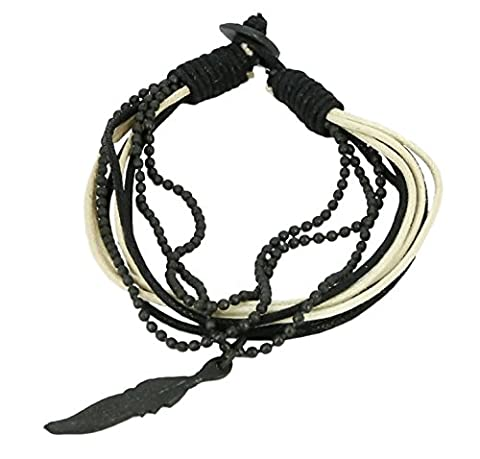 Indian Leather Rope Black and White Bead Bracelet for Men - Layered Wrap Bracelet Gift for Boyfriend