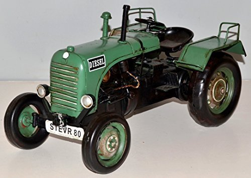 KellyPlaques Steyr Diesel Traktor Grünblech Traktor Blechdose Modell Blech Vintage Traktor ca. 32 cm