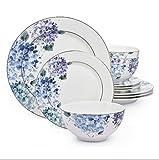 12 Piece Hydrangea Blue Bone China Dinner Set
