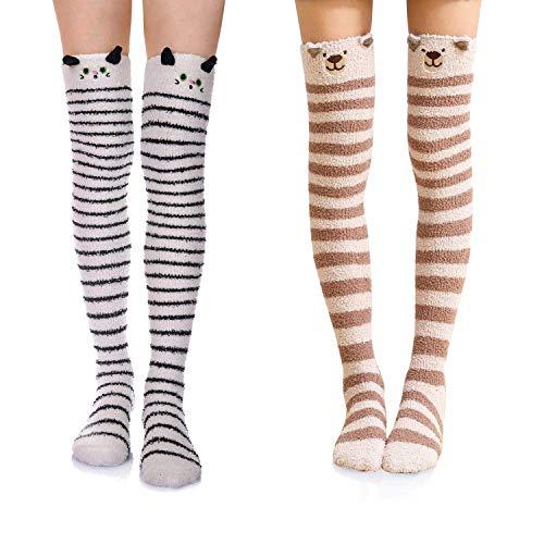 Wander G Damen s over knee high fuzzy-socken-nette karikatur strümpfe warm-streifen beinlinge Free Size 2 Pair Cat/Dog -