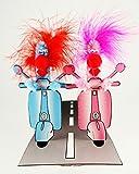 Pop Up Geburtstag ZZ Design Grußkarte PopShot Vespa Blue pink 16x16cm