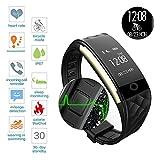 ROGUCI 0.96 Zoll OLED Bluetooth intelligenter Verfolger/Tracker, IP67 Wasserdichtes Tragbares Armband Wristband, Fitness Tätigkeits-intelligente Spurhaltung Armbinde mit Puls-Monitor, mehrfacher Bewegungs-Modus Fahrrad-Reiten , kompatibel mit androiden Smartphones 4.3 IOS iphones 7.0 BT 4.0