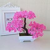 LOF-fei Künstliche Pflanzen Dekoration Kübelpflanzen bonsai Büro Esstisch Zubehör rosa Quadrat Keramik Blumentöpfe