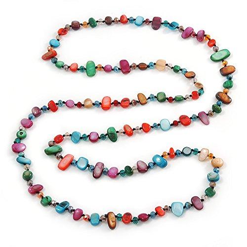 Shell Bunt lang Nugget und Glas Kristall Bead Halskette–110cm L