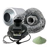 Prima Klima Set (2 Stufen Lüfter 160/280m3/h) Lüftungsset inklusive Aktivkohlefilter Rohrventilator und Schlauch AKF Premium Belüftungsset für Growbox Homebox Darkroom Hydroshoot Grow-Room Inkl Greenception Dünger