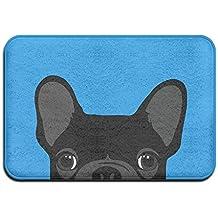 Cute Negro Francés Bulldog antideslizante entrada para interiores/exteriores/puerta delantera/baño mats 60x 40x 1cm
