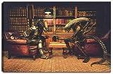 Alien vs. Predator Schach Motiv auf Leinwand im Format: 120x80 cm. Hochwertiger Kunstdruck als Wandbild. Billiger als ein Ölbild! ACHTUNG KEIN Poster oder Plakat!