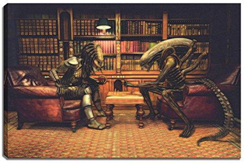 Alien vs. Picture scacchi Predator su tela Dimensioni: 120 cm x 80 cm. Stampa artistica di elevata qualità come un murale. Più economico di un dipinto ad olio! ATTENZIONE! NO Poster