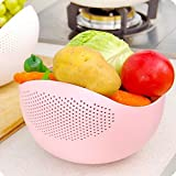 #3: Krevia Fresh Plastic Colorful Rinse Fruit Vegetables Basin Wash Rice Sieve Bowl Drainer Kitchen Basket Good Quality