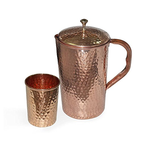 INDIAN COPPER WHOLESALER Reines Kupfer Gläser Set Becher Ayurveda, für Wasser, Glas, Fassungsvermögen 350 ml Sale for - 1 Pieces With 1 Water Glass