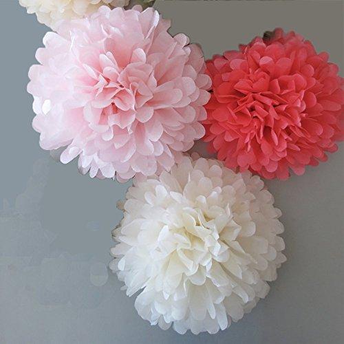 Set von 6Coral Blush Pink Weiß Seidenpapier Pompoms Hochzeit Geburtstag Taufe Baby Dusche Party Dekoration zum Aufhängen (Blush Pink Papier-blumen)
