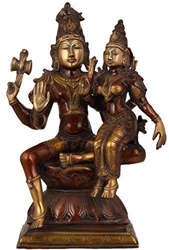 Exotic India Shiva mit Seiner Frau, Parvati, doppelte Chola, Größe: 6,5x 9,7x 15,4