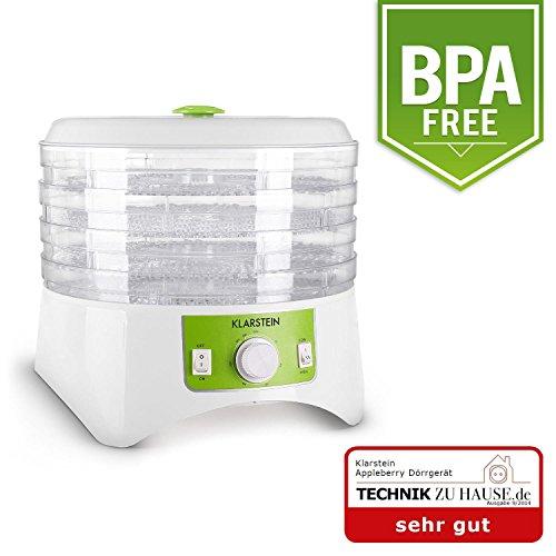 Klarstein Appleberry Dörrgerät Dörrautomat (400 Watt Dehydrator, 4 Etagen, 2 Temperaturstufen, Zeitschaltuhr, BPA-frei) weiß