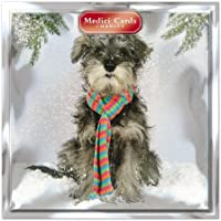 Medici Charity Christmas Cards (MED6895) Pack Of 8 Cards - Dog In Scarf - In aid of the following Charities: Marie Curie Cancer Care, Parkinsons, CLIC Sargent, Oxfam, Lifeboats, Macmillan
