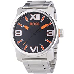 Hugo Boss Unisex Analogue Watch with Black Dial Analogue Display and Stainless steel plated gun metal - Dubai