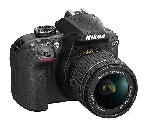 Nikon D3400 Digitales Spiegelreflexkamera mit Objektiv Nikkor AF-P 18 / 55VR, 24,7 Megapixel, LCD 3 Zoll, SD 8 GB 300 x Premium Lexar, schwarz (italienische Version) (Nikon En-el14 Akku-ladegerät)