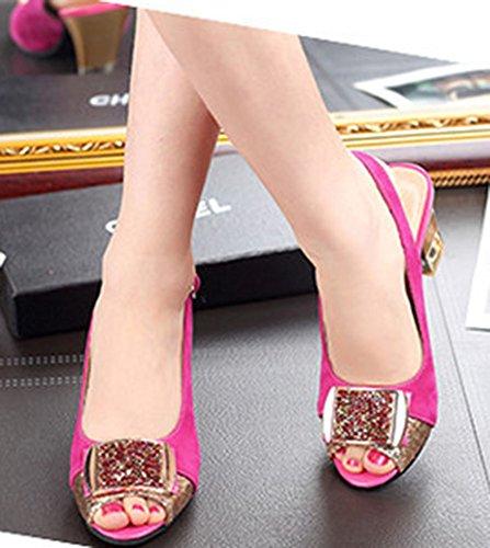 Aisun Femme Mode Chunky Peep Toe Sandales Avec Strass Pêche