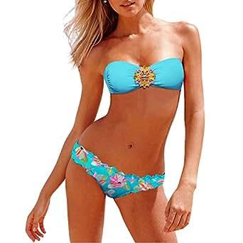 Zicac - Sexy Femme Bikini Maillots De Bain 2 pièces Très Populaire 2013 - 16 couleurs très jolis à choisir (L, 07 - Bleu)