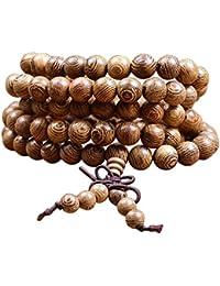 Pulsera Tibetana Tibet│Pulsera de Madera │Cadena de Oración Budista│Pulsera Budista Mala con 108 cuentas de madera │Pulsera de Perlas