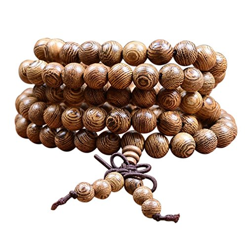 ecom delivery® ⭐⭐⭐⭐⭐ Tibetisches Armband | Holzarmband buddhistische Gebetskette | Buddha Armband Mala mit 108 Holzperlen Perlenarmband - Buddhismus Perlen Gebet Halskette