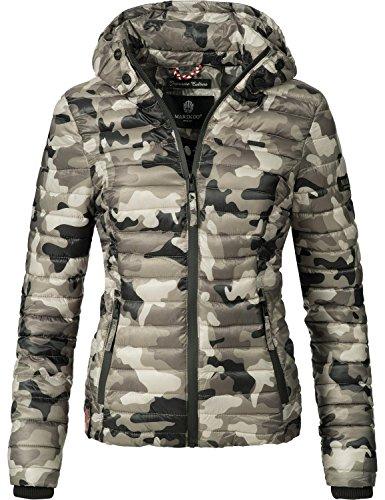 Marikoo Damen Übergangs-Jacke Jacke Steppjacke Samtpfote Army Grey Gr. S