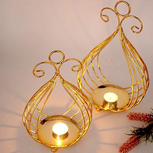 TAOtTAO Nordischer kreativer Kerzenhalter Galvanische Kerzenhalter aus Gold Xms Hohlkerzenhalter Kerzenständer Kreative Weihnachtsdekor Party Dekoration (L) -