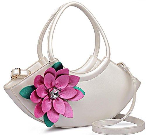 HYLM Art- und Weisedame-Handtaschen-neue Kurier-Beutel-Blumen punktierte Schulter Bagg White