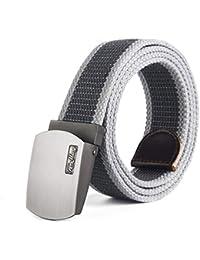 YNZSA Cinturón de hebilla automática Cinturón de lona Casual para hombres  Hombres salvajes jóvenes Jeans al 3f5f3377b82d