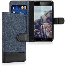 kwmobile Funda para Apple iPhone 6 / 6S - Wallet Case plegable de cuero sintético - Cover con tapa tarjetero y soporte en azul oscuro negro