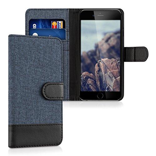 Kwmobile apple iphone 6 / 6s custodia portafoglio - cover porta carte tessuto simil pelle stand per apple iphone 6 / 6s - case magnetica
