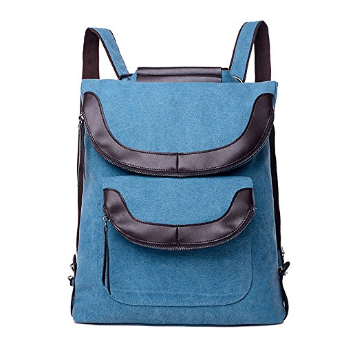 BYD - Donna Uomo Unisex School Bag zainetto backpack Travel Bag Canvas Bag Double Zipper Design Borse a mano Borse a spalla with Mutil Function Pocket Blu