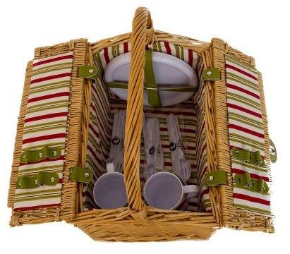 Picknickkorb für 4 Personen Picknicktasche Weidenkorb Teller Gabel Messer Löffel Besteck Kunststoffgläser