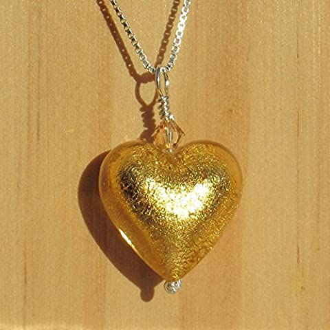 24kt light Gold foil MURANO glass heart (18mm), sterling silver chain and Swarovski accent necklace. FREE UK DELIVERY. GIFT WRAPPED pendant for her. Handmade | Handcrafted jewellery. Gifts idea for birthdays, Christmas, Anniversary, Valentines