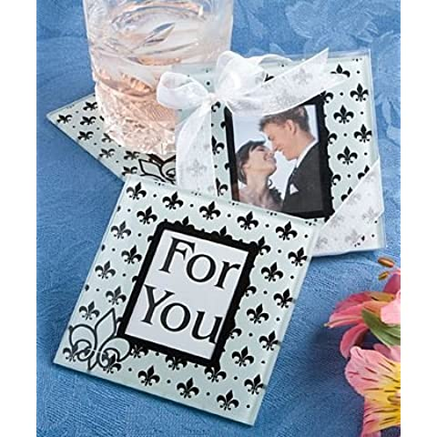 6 X Fleur De Lis Wedding & Party di vetro Photo Coasters Bomboniere - Black & White (2 pezzi)