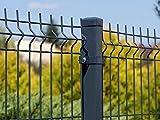 Stabgitterzaun 3D | Gartenzaun | Komplettset | 123cm hoch | Verzinkt und Pulverbeschichtet (40m, Anthrazit (RAL 7016))