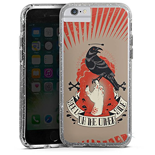 Apple iPhone 6s Plus Bumper Hülle Bumper Case Glitzer Hülle Raven Rabe Gothic Bumper Case Glitzer silber