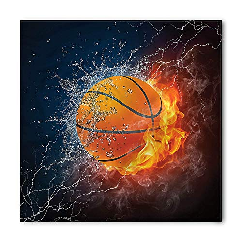 LULABE Sports Bandana, Ball on Fire Flame and Water, Unisex Head and Neck Tie,Unisex Bandana Head and Neck Tie Neckerchief Headdress Silk-Like 100% Polyester(size:M) -