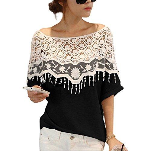 Tops Shirt Camicia Donna Elegante Nera Bicanca Chiffon Camicia Top Donna Estate Chiffon Senza sexy Casual Ufficio Elegante-LATH.PIN