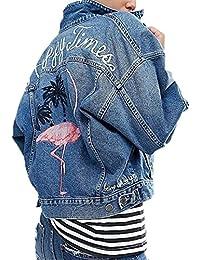 Minetom Femme Élégant Blouson Classique Bleu Denim Jacket Simple Boutonnage  Coats Rose Brodé Manteaux Lavé Jeans 5227aa61bc13