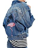 Minetom Damen Mädchen Beiläufig Stilvoll Bestickt Rose Gewaschene Jeans Denim Jeansjacke Jacket Oberbekleidung Coats Mantel G Blau DE 44