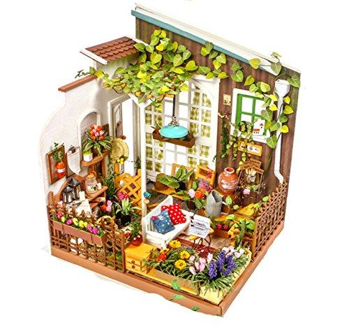 ROLIFE Miniatur Puppenhaus mit Licht Open Garden Modell Set Mini Holzhaus für Erwachsene-beste Geschenke für Mädchen(Mlller's Garden) (Miniatur-licht-set)