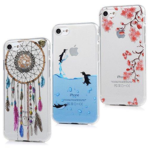 3x Cover iPhone 7, Custodia Silicone Morbido Trasparente TPU Flessibile Gomma design IMD [Non Svanisce] - MAXFE.CO Case Ultra Sottile Cassa Protettiva per iPhone 7 - Camelia + Pinguini + Acchiappasigni